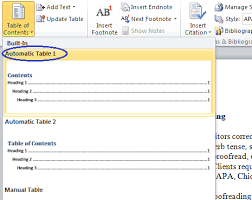 create table of contents in word microsoft table of contents word 2010
