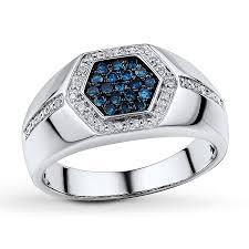 blue man rings images Jared men 39 s blue diamond ring 1 3 ct tw round cut 10k white gold jpg