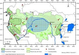 africa map color color schematic map of rainforest refugia across central