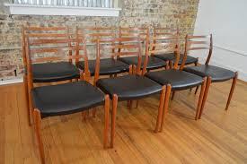 Scandinavian Leather Chairs Set Of Eight J L Mollers Model 78 Teak U0026 Leather Danish Dining