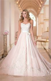 pink lace wedding dress gown sweetheart blush pink satin ivory lace wedding dress with sash