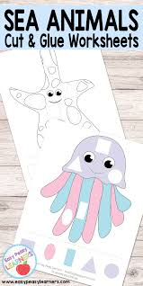 free sea animals cut and glue worksheets easy peasy learners