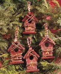 wood birdhouse tree ornament x