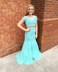 blue short sleeves mermaid lace two pieces prom dresses 2017