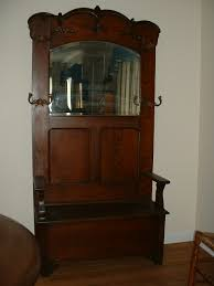 Antique Foyer Bench Coat Rack With Mirror And Seat For Sale Antiques Com Classifieds
