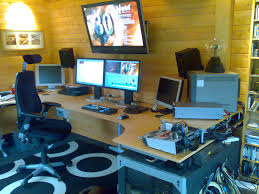 interior design remarkable home studio workstation with tv on wall