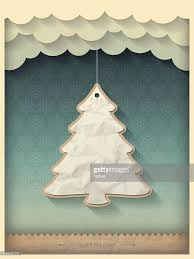 vintage christmas tree paper christmas tree on vintage christmas background vector art