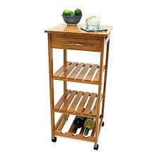 lipper international bamboo rolling cart with wine rack bed bath
