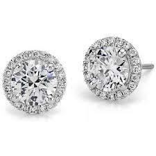 diamond earing halo diamond earring setting in platinum top pins from blue nile