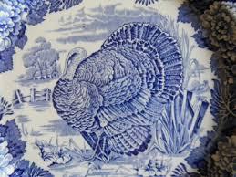 vintage thanksgiving turkey plate enoch wood sons scenery bl