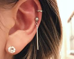 bar cartilage earrings etsy your place to buy and sell all things handmade