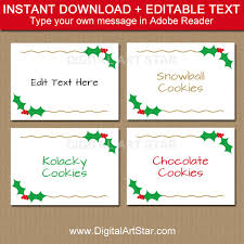 printable christmas buffet cards holly labels with gold