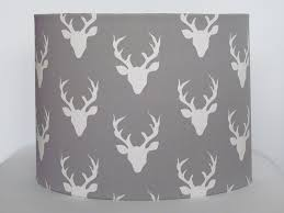 stag head designs handmade minky grey and ivory stag deer head fabric drum lampshade