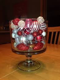 my pampered chef trifle bowl filled with various plastic ornaments