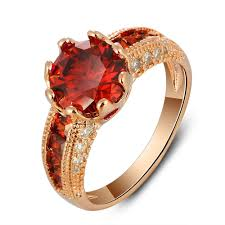red gold rings images 2018 fashion rose gold red zircon fine copper ring wedding women 39 s jpg