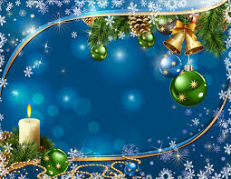 photos new year snowflakes bells balls candles branches template