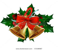 bells with holly leaves berry vector clipart illustration