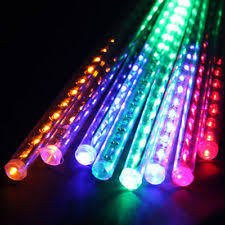 Multi Color Icicle Lights Multicolor Rainbow 8 Led Meteor Shower Icicle Tube String Decor