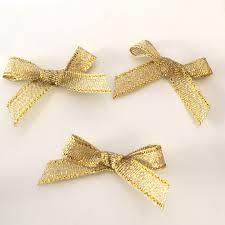 10 gold bows gold ribbon bows gold lurex bows 7mm bows 7mm