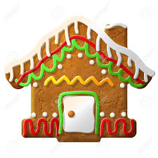gingerbread house decorated colored icing holiday cookie in