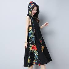 women national trend sleeveless with a hood dress mori fluid