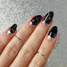 black faux marble stone gel polish fake press on nails use