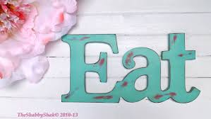 Teal Kitchen Decor by Eat Sign Kitchen Decor Teal Red Shabby Chic Decor