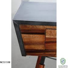 wood and metal console table with drawers solid suar wood and metal console table with 2 drawers product