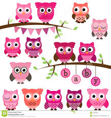 vector collection of baby shower themed owls royalty free