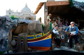 vatican nativity scene includes earthquake damaged church spire