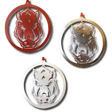 arkansas razorbacks forward facing hog logo ornament