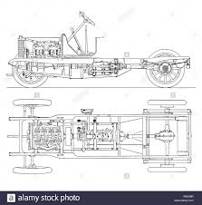 diagram of four cylinder petrol engine car chassis with cardan