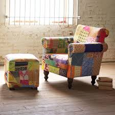 Reclaimed Armchair Reclaimed Vintage Patchwork Arm Chair With Ottoman Capelli