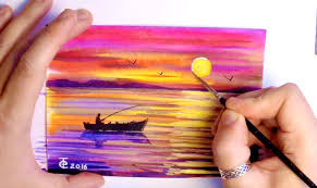 watercolor painting how to paint seascape sunset nature ocean