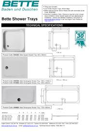 bette 900 square shower tray drop in shower trays bette