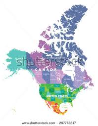 states canada map map provinces territories canada largest cities stock vector