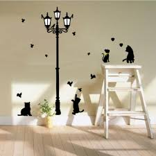compare prices on cat stairs wall online shopping buy low price cute 4 cats under the lamp wall stickers diy decals pvc removable wall stickers for kids