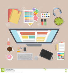 designer desk web designer desk stock vector image of items keyboard 82387815