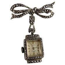 vintage bucherer silver marcasite pin brooch from ornaments