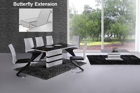 K White Black Glass Designer EXTENDING Dining Table Only OR With - Black and white dining table with chairs