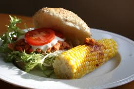 salmon burger with corn on the cob and chipotle butter http amzn