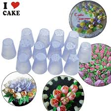 flower decorating tips 14pcs lot russian tulip plastic icing piping nozzles making flower