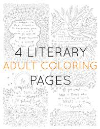 set of 4 coloring pages literary coloring