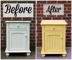 country style bedroom makeover with shabby chic yellow nightstand