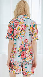 gray blue chiffon floral pajamas custom pajamas inexpensive