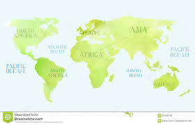 World Map With Continents And Oceans by Watercolor World Map Stock Illustration Image 63799748