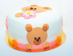 teddy bear birthday cake for kids royalty free stock photo image