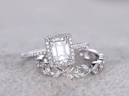5x7mm emerald cut moissanite bridal set engagement ring white gold