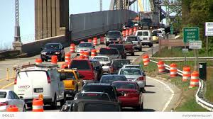 bridge traffic merge construction cape cod 4 stock video footage