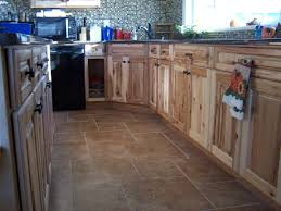 Kitchens With Hickory Cabinets Hickory Cabinets Tile Floors Quartz Countertops What A Great